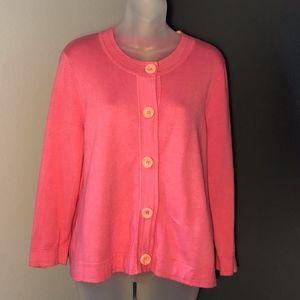 Sigrid Olsen Large Button Pink Cardigan Sweater